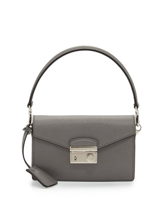 Saffiano Mini Sound Bag, Gray (Marmo)
