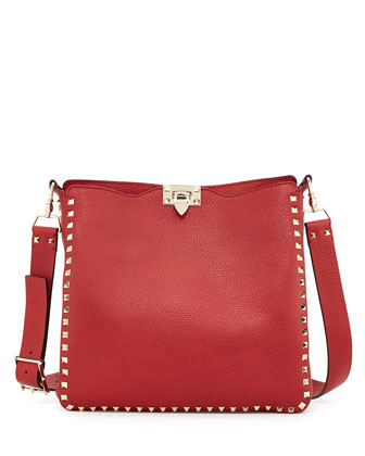 Rockstud Flip-Lock Messenger Bag, Rosso Red