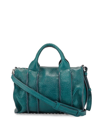 Inside-Out Rocco Pebbled Leather Satchel Bag, Dark Mosaic Teal