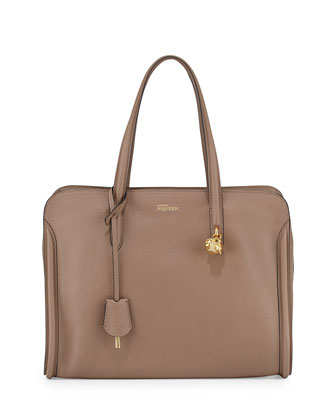 Skull Padlock Zip-Around Tote Bag, Taupe