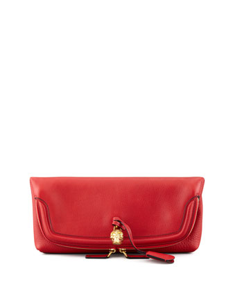 Skull Padlock Fold-Over Clutch Bag, Red