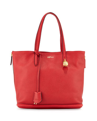 Pebbled Padlock Shopper Tote, Red
