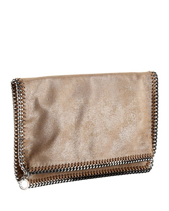 Falabella Fold-Over Clutch Bag, Redwood