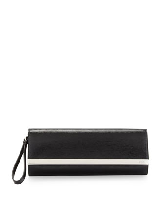 Rush Saffiano Patent Clutch Bag, Black