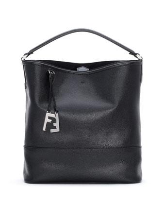 2Jour Leather Bucket Bag, Black