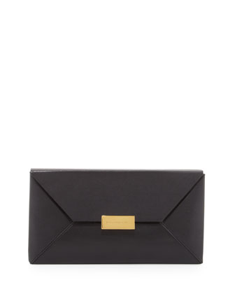 Beckett Faux-Napa Clutch Bag, Black