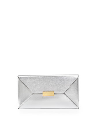 Beckett Metallic Envelope Clutch Bag, Silver
