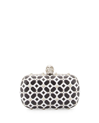 Classic Grid Skull-Clasp Clutch Bag, Ivory/Black