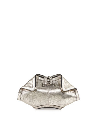 De-Manta Metallic Small Clutch Bag, Silver