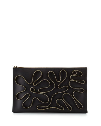Cavendish Faux-Napa Zipper Clutch Bag, Black