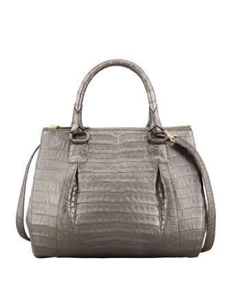 Double-Zip Crocodile Tote Bag, Gunmetal