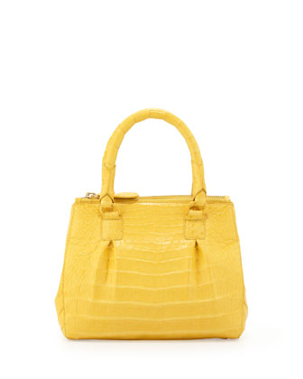 Mini Open-Top Crocodile Tote Bag, Yellow