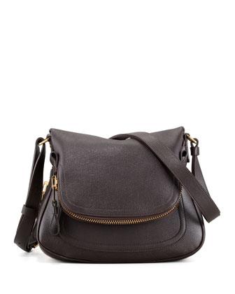 Jennifer Calfskin Crossbody Bag, Brown