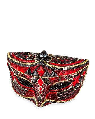 Crystal Mask Minaudiere, Red/Black