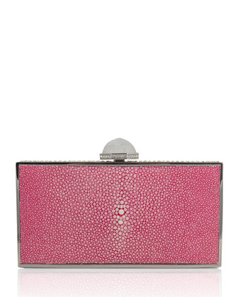 Perfect Rectangle Stingray Clutch Bag, Fuchsia