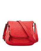 Jennifer Calfskin Crossbody Bag, Flame Red
