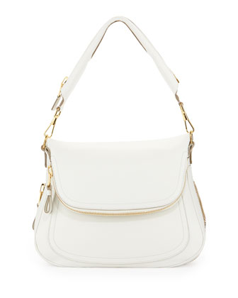 Jennifer Leather Shoulder Bag, Chalk