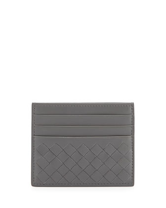 Woven Leather Credit Card Sleeve, New Light Gray