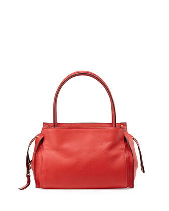 Dree Pebbled Small Satchel Bag, Plaid Red
