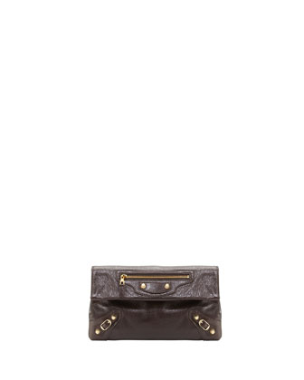 Giant 12 Golden Envelope Clutch Bag, Charbon