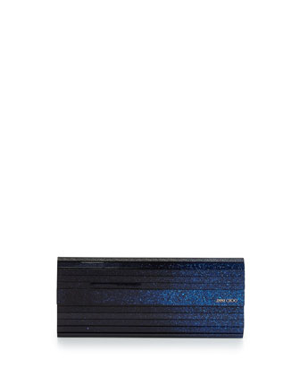 Sweetie Glittery Degrade Resin Clutch Bag, Ink/Black