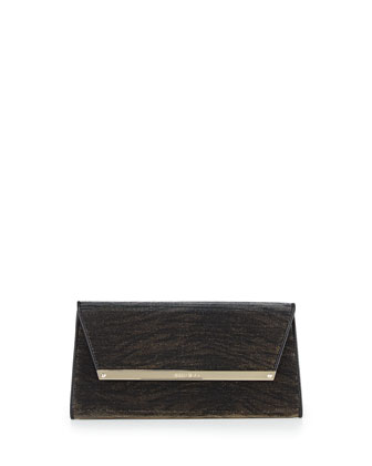 Margot Zebra-Print Shimmer Wallet Clutch, Black/Amber