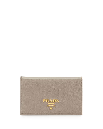 Saffiano Flap Card Case, Gray (Argilla)