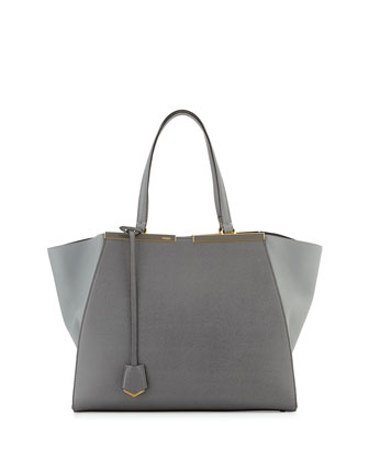 Trois-Jour Medium Leather Tote Bag, Gray