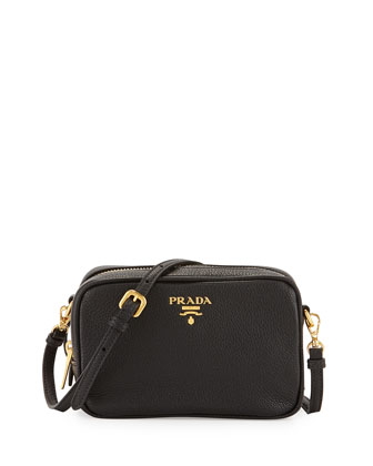 Vitello Mini Zip Crossbody Bag, Black (Nero)
