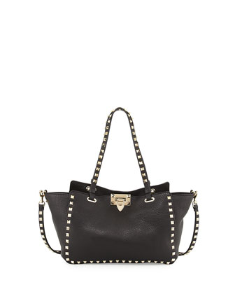 Rockstud Mini Latch Tote Bag, Black