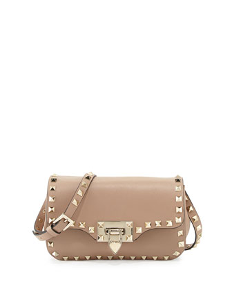 Rockstud Mini Leather Crossbody Bag, Alpaca