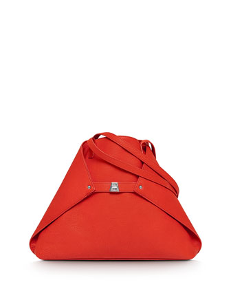 Ai Medium Leather Shoulder Tote Bag, Tangerine