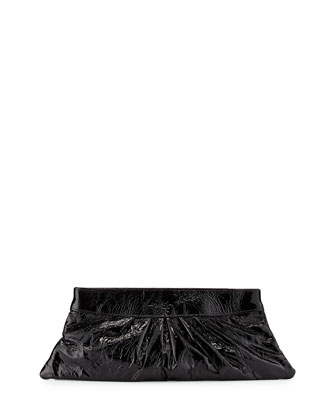 Louise Crinkled Patent Clutch Bag, Black
