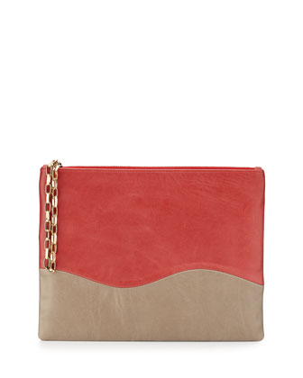 Winne Colorblock Leather Zip Pouch, Coral/Taupe