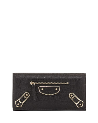 Metallic Edge Classic Money Wallet, Black