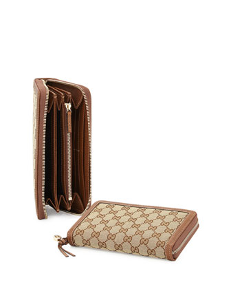 Original GG Canvas Zip Wallet, Nocciola
