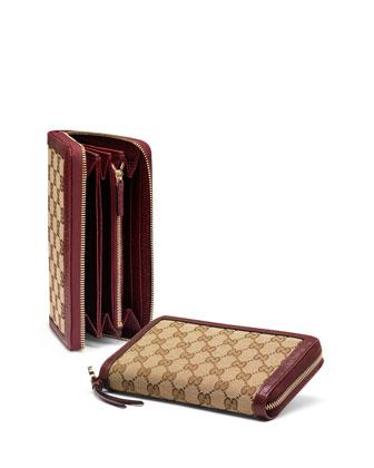 Bree Original GG Canvas Zip Around Wallet, Classic Ruby