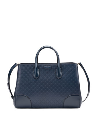 Diamante Leather Top Handle Bag, Marine Navy