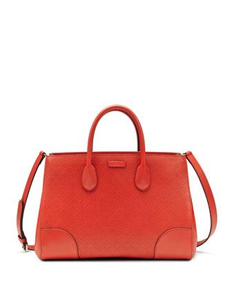 Diamante Leather Top Handle Bag, Dark Orange