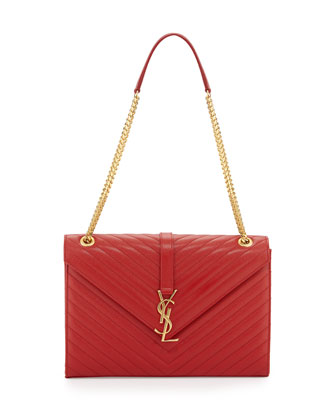 Monogramme Matelasse Shoulder Bag, Lipstick Red