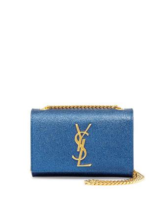 Monogramme Metallic Crossbody Bag, Bleu Royal