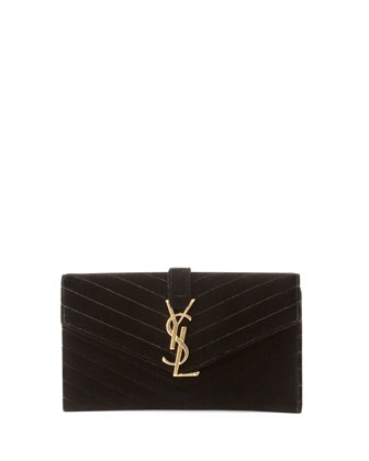 Monogramme Small Velvet Clutch Bag, Black