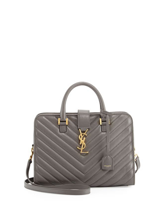Monogramme Small Matelasse Zip-Around Satchel Bag, Earth Gray