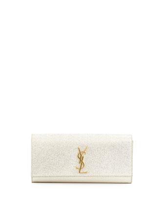 Monogramme Crinkled Clutch Bag, Platine Silver
