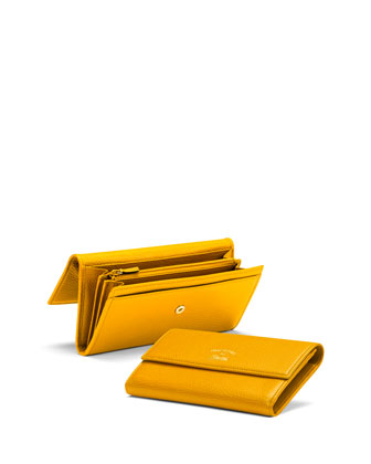 Continental Leather Flap Wallet, Bumble Yellow