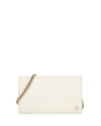 Leather Flap Wallet-on-a-Chain, Mystic White