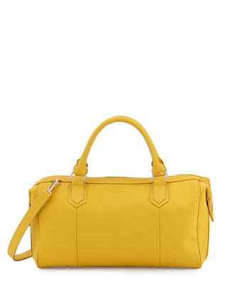 Quinn Sporty Calfskin Satchel Bag, Yellow