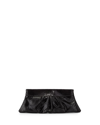 Eve Lizard-Embossed Clutch Bag, Black