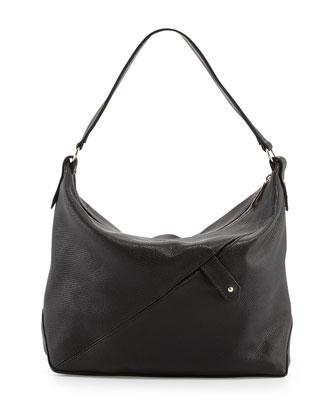 Tess Soft Lizard Shoulder Bag, Black