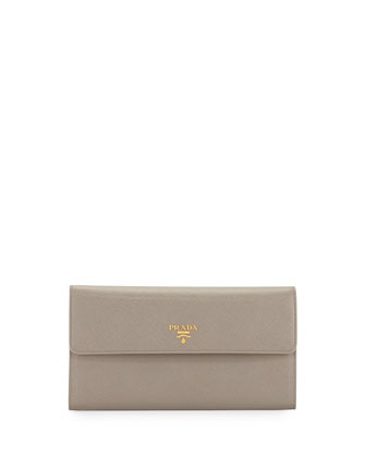 Extra-Large Saffiano Travel Wallet, Gray (Argilla)